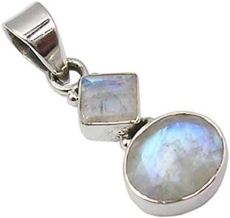 SilverStarJewel Natural Rainbow Moonstone 2 Stone Pendant 1.2 Sterling Silver