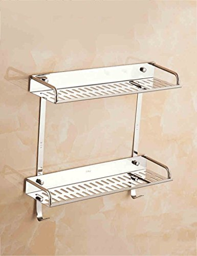 Wall Mounted Basin Stand - DIDIDD Shelf-Extremely Firm Shower Shelf Bathroom Accessories Stainless Steel Cosmetic Stand Bathroom Storage Rack Double Mirror Front Frame Kitchen Wall Mounted Racks Ensuring Quality,40Cm,1