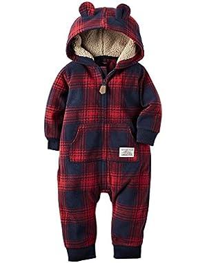 Carters Boy's Fleece Hooded Two Pocket Bodysuit Romper