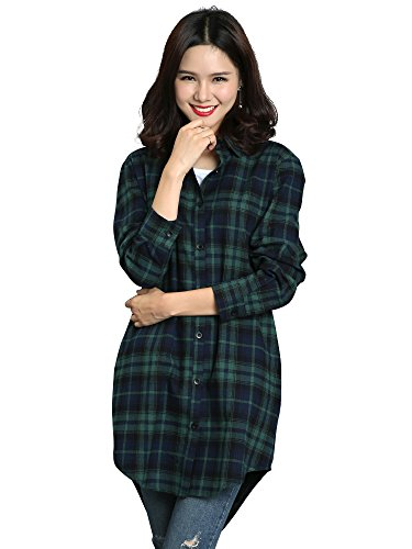 OCHENTA Women's Long Sleeve Boyfriend Style Plaid Shirt Dress Casual Tops C004BF Green L