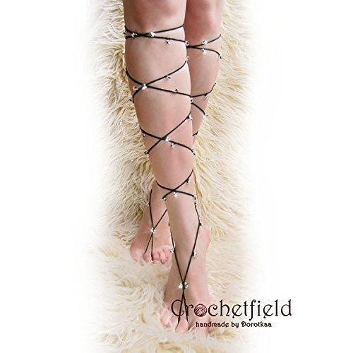 Black SPARKLING Anklet barefoot sandals knee high gladiator wedding shoes Foot jewelry bellydance