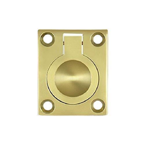 Flush Ring Pull Polished Brass - Deltana FRP175U3 1 3/4-Inch x 1 3/8-Inch Solid Brass Flush Ring Pull