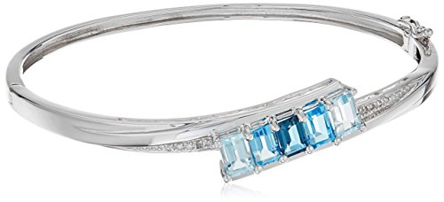 Sterling Silver Tonal Blue Topaz and Diamond Accent Hinged Bangle (Bangle Blue Topaz Bracelet)