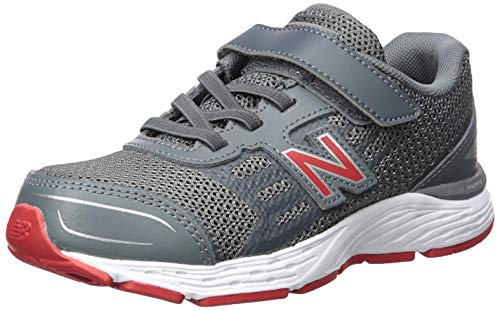 New Balance Boys' 680v5 Hook and Loop Running Shoe Lead/red 6.5 M US Big Kid