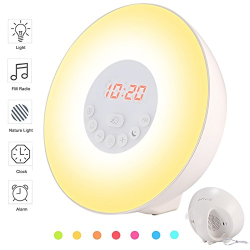 LBell Wake Up Light, 2017 Newest 6 sounds Sunrise Simulation Alarm Clock 7 colors Bedside Night Light with Sunset&Snooze Function, Nature Sounds, FM Radio, Touch Control and USB Charger