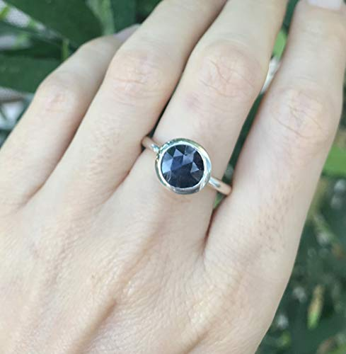 (Blue Sapphire Simple Round Ring Size 7)