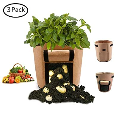 CJH 3 Pcs 7 Gallon Potato Grow Bags, Planter Pot with Handles and Velcro Window, Breathable Nonwoven Fabric, Garden Planting Grow Bags for Potato Tomato and Other Vegetables (Green Brown Black) : Garden & Outdoor