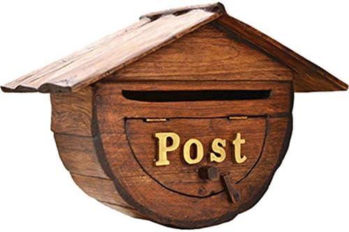 メールボックス 屋外の古典的な木製のメールボックスクリエイティブ半円形メールボックス壁掛け装飾メールボックス 家庭用またはビジネス用 (Color : Wood, Size : Free size)