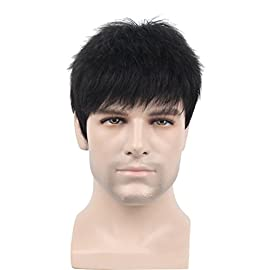 Remeehi Manly Short Fluffy Straight Full Bang None Lace Machine Made Real Human Hair Wig For Men Black