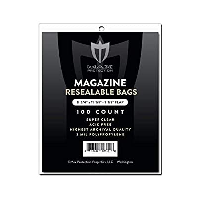 100ct Max Pro Ultra Premium Resealable Magazine Bags - 8-3/4 x 11-1/8 - Acid Free (100): Sports & Outdoors