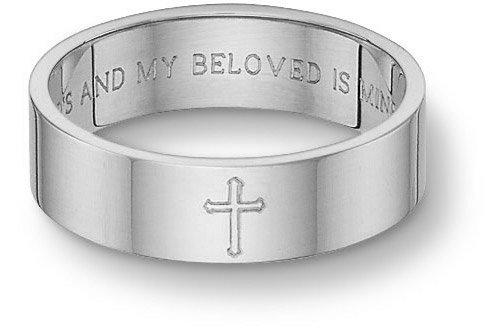 Amazoncom Platinum Song of Solomon Cross Wedding Band Jewelry