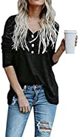OUGES Women's Long Sleeve Button Loose Casual Blouses Tunic Tops