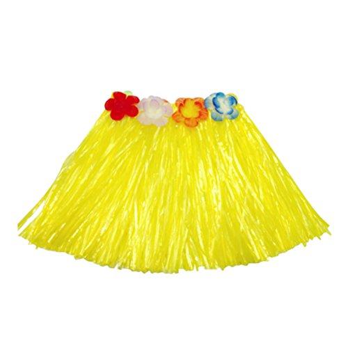 5Pcs Hawaii Tropical Hula Grass Dance Skirt Flower Bracelets Headband Bra Set 40cm (Yellow Skirt) by LUOEM (Image #3)