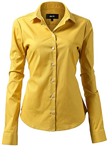 99ef94cf393 Harrms Shirts for Women Slim Fit Stretchy Cotton Yellow Button Down Shirts  Size 16