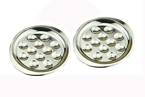 (Stainless Steel Snail Mushroom Escargot Plate Dishes 12 Compartment Holes Pack of 2)