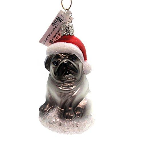 Santa Hat Glass Ornament (Inge-Glas Pug Pooch Glass Ornament Santa Hat Dog 101316)