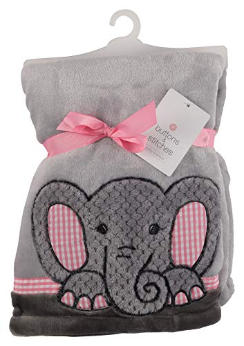 Buttons and Stitches Buttons and Stitches Texture Furry Flannel Fleece Blanket with Elephant Applique- Pink