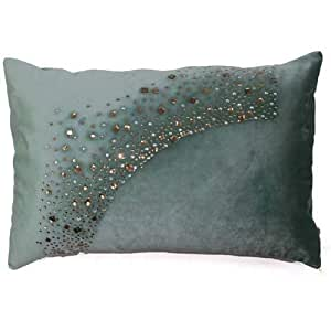 Diveenas Cushion Velvet Rect 40x60cm Green Golden Diamond Glitter