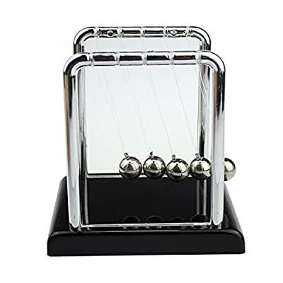 FORESTIME Physics Science Accessory Desk Toy Newton s Cradle Steel Balance Ball (Silver, 9X 7.5X 8.5cm.): Toys & Games