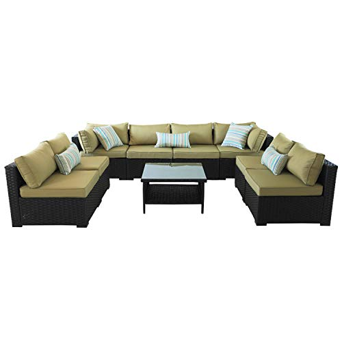 VALITA Outdoor PE Wicker Sofa Set 9 Pieces Patio Rattan Sectional Conversation Chair Furniture Black/Olive Green