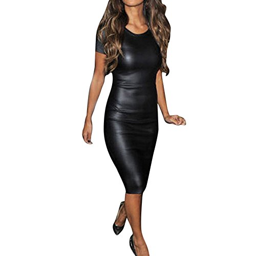 Hemlock Women Bodycon Midi Dress, Ladies Faux Leather Dress O Neck Party Dress Skinny Dress (XXL, Black)