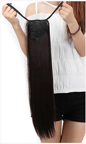 S-noilite Schnelle Lieferung Clip in Extensions Haarverlängerung Pferdeschwanz Zopf Haarverdichtung Haarteile Perücken Tie Up Bindung Ponytail ca.55cm/22 Zoll Glatt Pony Tail Wie Echthaar