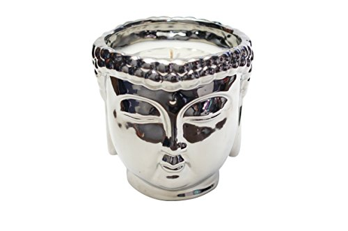 (Thompson Ferrier – Buddha scented candle collection – White Tea & Mint fragrance Home Decor Candle - Silver - Hand sculpted and hand poured with the finest essential oils)