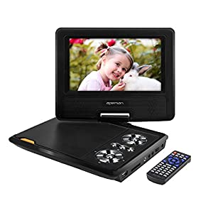 apeman 75 portable dvd player for kids and car swivel screen support sd card usb cd dvd with av inputoutput and earphone port 4 hours built in
