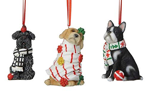 Dog Holiday Ornaments - Creative Co-op Mischievous Puppy Dogs Holiday Ornaments - Set of 3