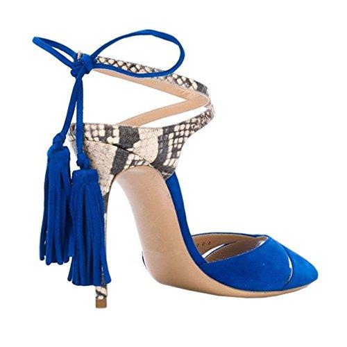 ENMAYER Frauen Cross Straps High Heels Lace-up Peep Toe Solid Casual Party Schuhe für Frauen Stiletto Sommer Schuhe Sandalen Blau