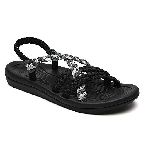 MEGNYA Women's Comfortable Flat Walking Sandals with Arch Support Waterproof for Walking/Hiking/Travel/Wedding/Water Spot/Beach. 19ZDME02-W17-11 Black Grey