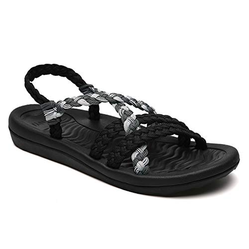 MEGNYA Women's Comfortable Flat Walking Sandals with Arch Support Waterproof for Walking/Hiking/Travel/Wedding/Water Spot/Beach. 19ZDME02-W17-5 Black Grey (Best Waterproof Hiking Sandals)