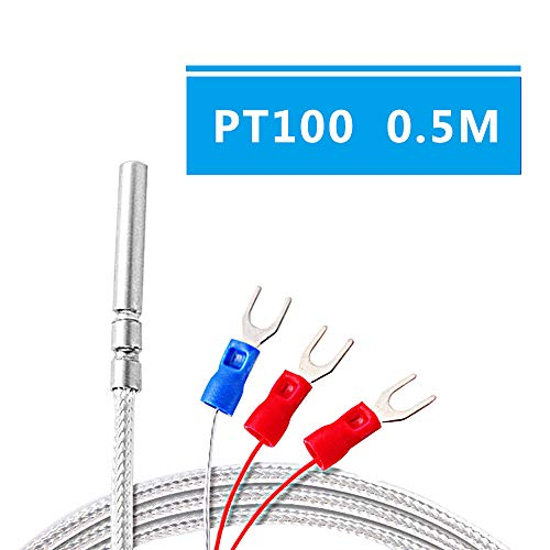 (Waterproof Stainless Steel PT100B 0.5M Thermocouple Thermistor Sensor Probe,Thread 3-Wire Thermal Resistance for Temperature Sensor Transmitter)