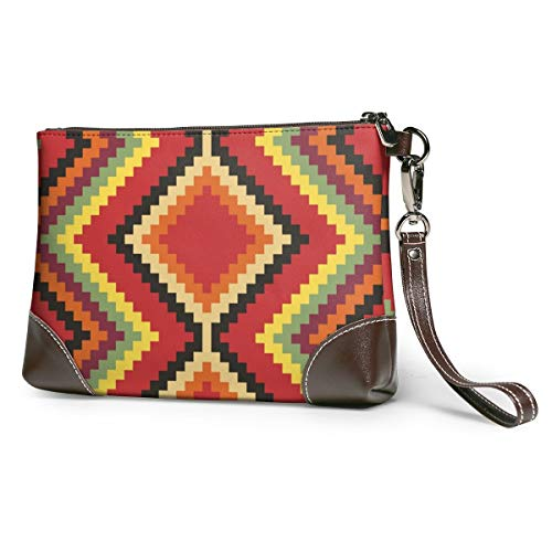 Retro Stripe Women Portable Soft Genuine Leather Clutch Wristlet Small Bag Large Wallet