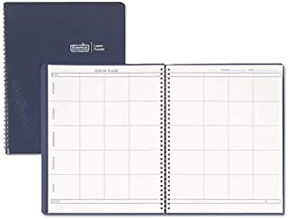 product image for House of Doolittle Products - House of Doolittle - Lesson Plan Book, Embossed Leather-Like Cover, 11 x 8-1/2, Blue - Sold As 1 Each - Weekly lesson planner for eight class periods for up to 41 weeks. - With extra pages for changes. - Embossed blue simulated leather cover.