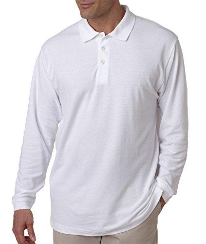UltraClub Adult Long-Sleeve Whisper Pique Polo