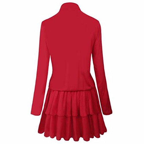 QIYUN.Z Falbala De La Manga Larga De Las Mujeres Viste El Vestido Plisado Tic Del Tilt Del Volante De La Túnica Rojo