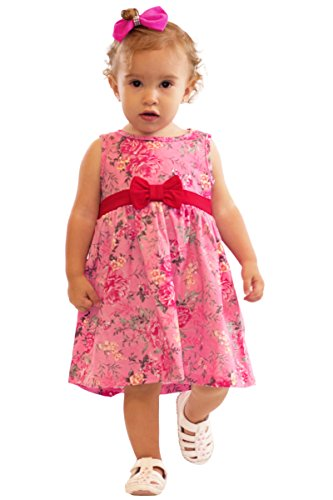 Bubble Gum Infant Apparel (Pulla Bulla Baby Girl Infant Bow Floral Dress 9-12 Months Bubblegum)