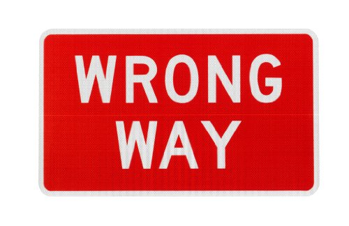 Elderlee, Inc. 9030.511 Wrong Way Sign, MUTCD R5-1A .100 Aluminum, 30 x 18 Inch 3M High Intensity Reflective - Mall Federal Way