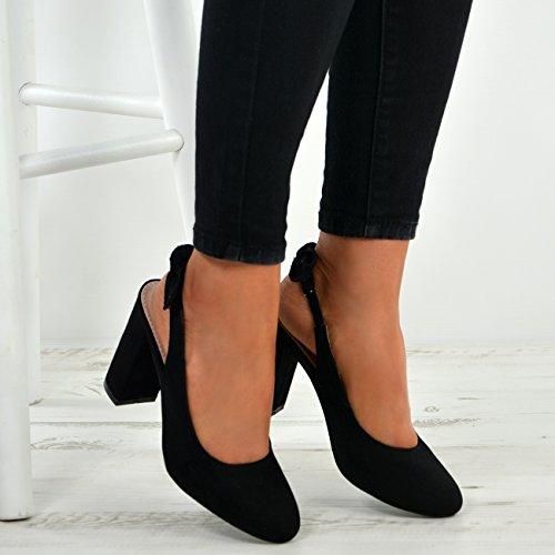 Shoes Size Back Alti New Uk Black Block Comfy Womens Ladies Fashion Tacchi Pumps Sling txTvPA