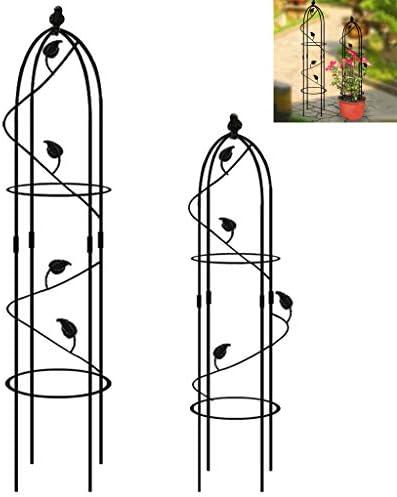 クライミング植物のための庭オベリスクトレリス、家庭用のブドウの木、バラや植物、屋外スチール高い塔を登るための錬鉄金属トレリスフラワーサポート,黒