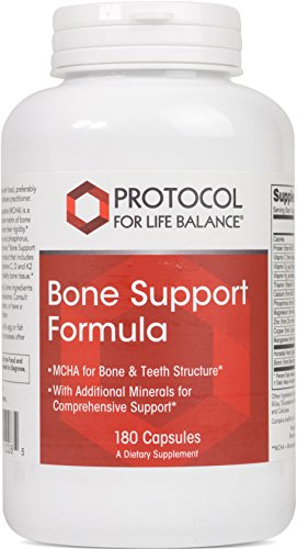 Protocol For Life Balance - Bone Support Formula - with Magnesium and Vitamins C, D, K2 to Support Bone & Teeth Structure, Bone Density, Calcium Absorption, Joint Pain Relief - 180 Capsules (Support Magnesium Osteo)
