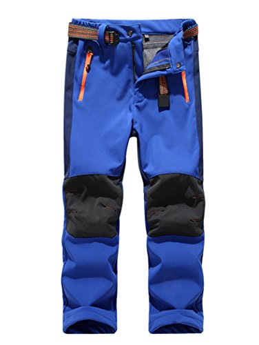 CATERTO Girls/Boys Fleeced Snow Hiking Pants Water Repellent Windproof Outdoor Sports Softshell Winter Pants Dark Blue L