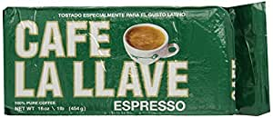 Café La Llave Espresso, 100% Pure Coffee, Rich and Aromatic, Fine-Grind, Dark Roast, 1-Pound Vacuum Sealed Brick Pack