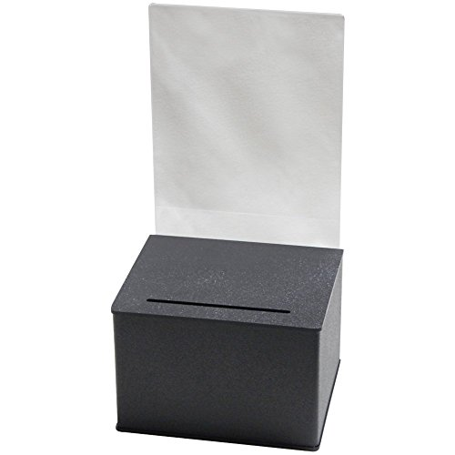Durable Plastic Ballot Box (Black) | For Every Occasion | Tips, Donations, Surveys and much more! | Great for businesses and schools to use | (Large 2 Pack) by Prime Office Supplies