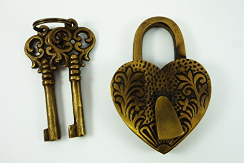 Padlock Heart Shape Vintage Style Handmade Brass Lock Iron Pad Lock (Antique Brass Heart Shape)
