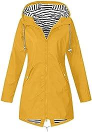 Bidobibo Women's Long Hooded Rain Jacket Lightweight Hiking Jacket Zip Up Trench Coats Fall Clothes for Wo