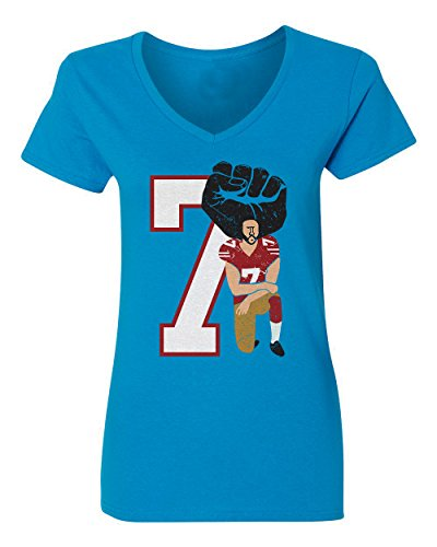 King Womens Light T-shirt - I'm with KAP National Anthem Protest Kneel Women's V-Neck T Shirt (Light blue,L)