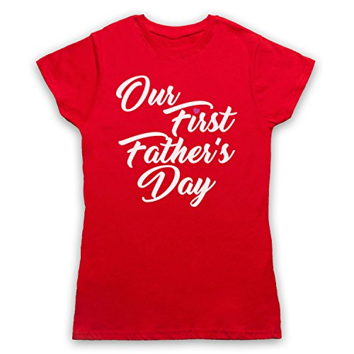 Our First Father's Day Baby Daughter Camiseta para Mujer Rojo