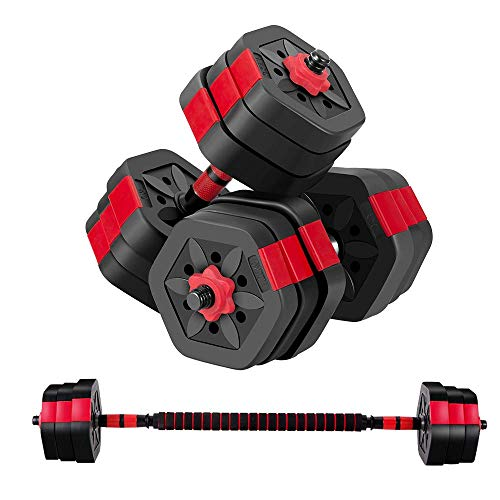 BRAVE HEART Adjustable Dumbbell Barbell Weight Pair TOTAL 44 LBS, Dumbellsweights Set, Free Weights Dumbbells 2 in 1…